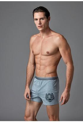 Eros Erkek 2'li Penye Boxer Gri Melanj ES011527
