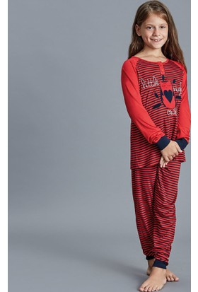Dagi Kız Çocuk Pijama Takımı Kırmızı K0216K0090