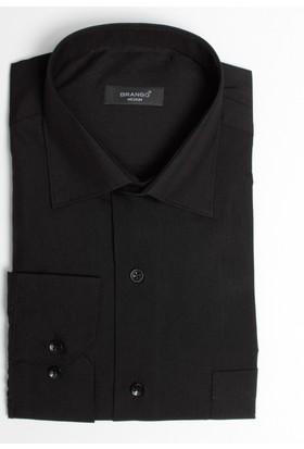 Brango 12001-17 Klasik Düz Siyah Gömlek