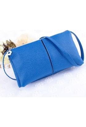 Elya Askılı Clutch Çanta Mavi