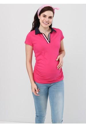 Gör&Sin Hamile T-Shirt Polo Yaka Fuşya