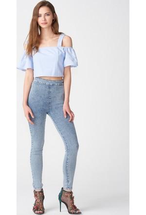 Dilvin 7906 Yüksek Bel Cepsiz Pantolon Açık Mavi