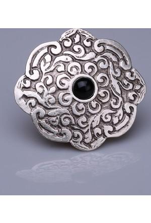 Fsg Takı Siyah Doğal Taşlı Gümüş Kaplama Mıknatıslı Broş