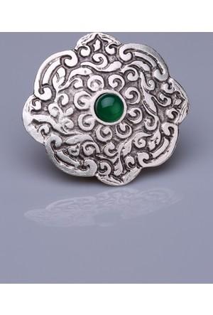Fsg Takı Yeşil Akik Doğal Taşlı Gümüş Kaplama Mıknatıslı Broş