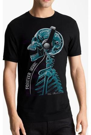 Tshirthane Forever Music Siyah T-Shirt