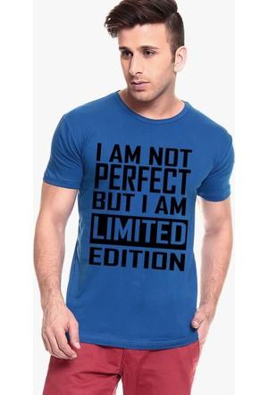 Tshirthane I'M Not Perfect Mavi T-Shirt