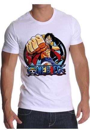 Tshirthane One Piece Beyaz T-Shirt