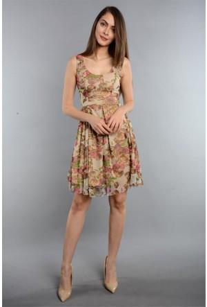 Espenica Desenli Kısa Elbise Günlük Tatil Mezuniyet Elbise 3567