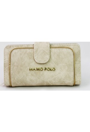 Makko Polo Fermuarlı Bej Cüzdan