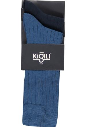 Kiğılı 2'li Düz Bambu Çorap Saks 123730