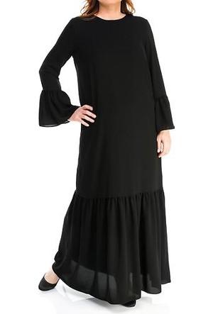 Melisita İklima Büyük Beden Tesettür Elbise Siyah Ss01710Eb