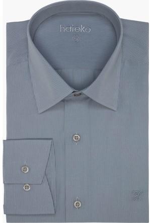Hateko Çizgili Gri - Beyaz Gömlek