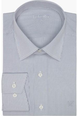 Hateko Çizgili Beyaz - Siyah Gömlek