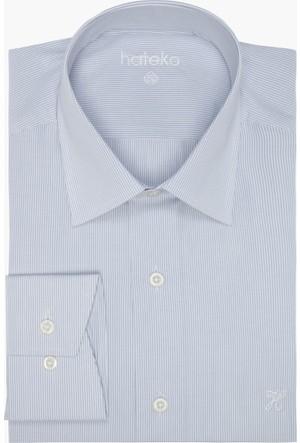 Hateko Çizgili Beyaz - Gri Gömlek