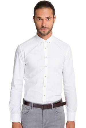 Cacharel Erkek Dokuma Gömlek Beyaz