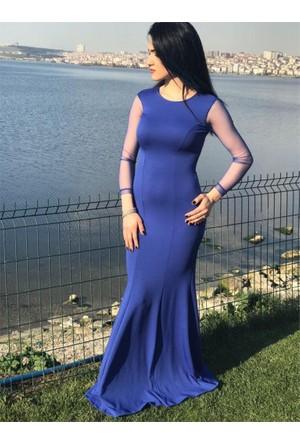 Espenica Uzun Elbise Kol Tül Detaylı Abiye Mezuniyet Balo Nikah Nişan Düğün Gece Elbise 3477