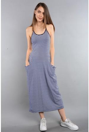 Espenica Çizgili Marin Sırt Deri Askı Detaylı Uzun Tatil Yazlık Günlük Elbise 3358