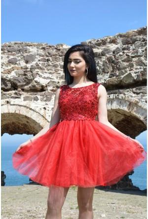 Espenica Pullu Kısa Elbise Tütü Etekli Abiye Balo Mezuniyet Düğün Nikah Nişan Elbise 3571