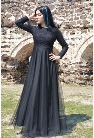 Espenica Uzun Elbise Dantel Tül Tesettür Mezuniyet Abiye Düğün Nikah Balo Nişan Elbise 3456