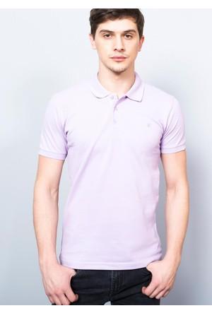 Adze Erkek Lila Polo Yaka Pike T-Shirt