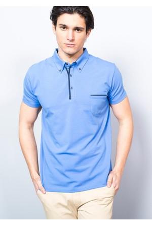Adze Erkek Mavi Polo Yaka Süprem T-Shirt