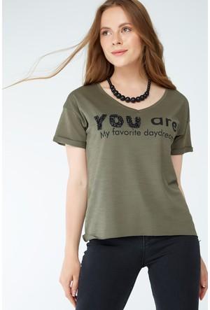 FullaModa Taşlı T-Shirt 17YFİRESH0007