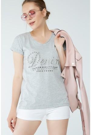 FullaModa Taşlı T-Shirt 17YSANT0170