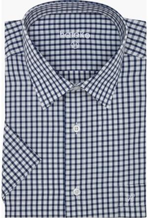Hateko Kareli Lacivert - Beyaz Klasik Kesim Kısa Kollu Gömlek