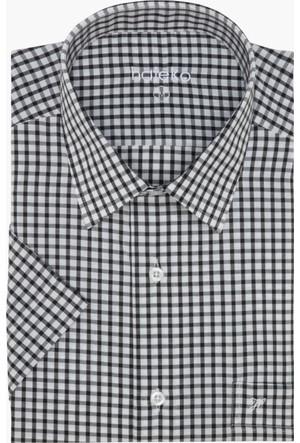 Hateko Kareli Siyah - Beyaz Klasik Kesim Kısa Kollu Gömlek
