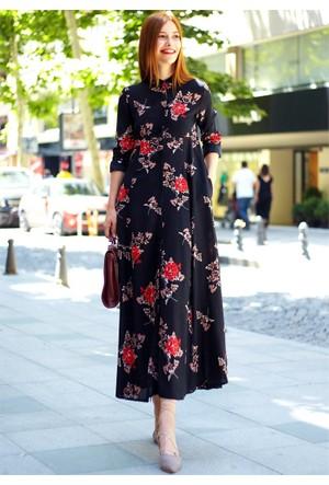 Femme Çiçekli Gömlek Elbise