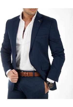 DeepSEA Lacivert Önü Pensli Kendinden Desenli Slimfit Blazer Erkek Ceket 1740011-008
