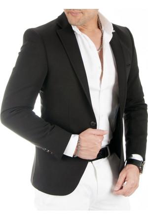 DeepSEA Siyah Önü Pensli Kolları Yamalı Slim Fit Blazer Penye Erkek Ceket 1704198-002