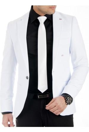 DeepSEA Beyaz Önü Pensli Kolları Yamalı Slim Fit Blazer Penye Erkek Ceket 1704198-001