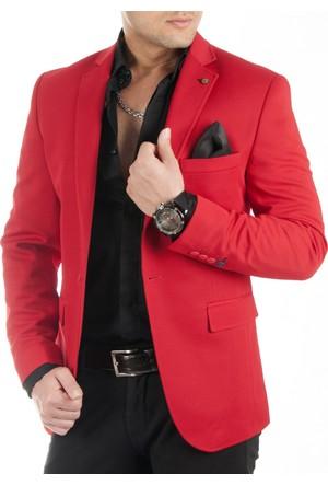 DeepSEA Kırmızı Önü Pensli Kendinden Desenli Slimfit Blazer Erkek Ceket 1740011-004