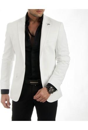 DeepSEA Beyaz Önü Pensli Kendinden Desenli Slimfit Blazer Erkek Ceket 1740011-001