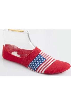 DeepSEA Kırmızı Yıldız Desenli Erkek Babet Çorap 1707058-004