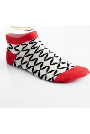 DeepSEA Beyaz-Kırmızı Desenli Kısa Erkek Çorap 1707060-034