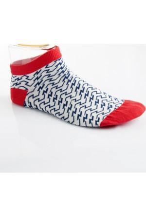 DeepSEA Beyaz-Kırmızı Desenli Kısa Erkek Çorap 1707062-034