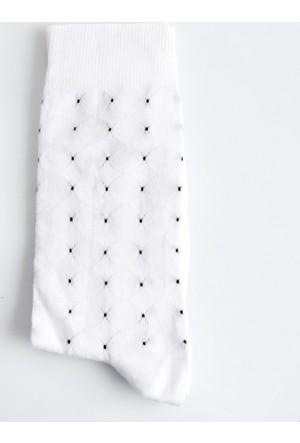 DeepSEA Beyaz Desenli Uzun Erkek Çorap 1707066-001