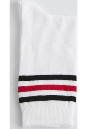 DeepSEA Beyaz-Kırmızı Desenli Uzun Erkek Çorap 1707066-034