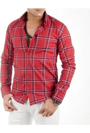 DeepSEA Kırmızı Çizgi Desenli Likralı Uzun Kollu Erkek Gömlek 1701012-004