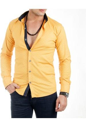 DeepSEA Sarı Çiçek Desenli Likralı Uzun Kollu Erkek Gömlek 1701015-015