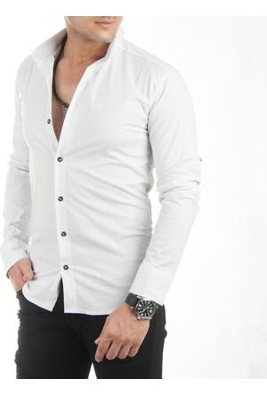 DeepSEA Beyaz Kare Desenli Likralı Uzun Kollu Erkek Gömlek 1701018-001