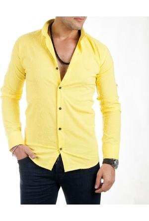DeepSEA Sarı Yuvarlak Desenli Uzun Kollu Erkek Gömlek 1701019-015