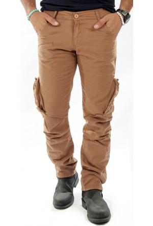 DeepSEA Açık Camel Dar Kesim Cepleri Ters-Fermuarlı Erkek Kargo Pantolon 1611193-221