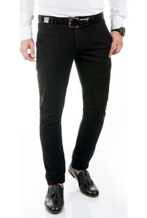 DeepSEA Siyah Klasik Slim Fit Spor Kesim Keten Erkek Pantolon 1702440-002