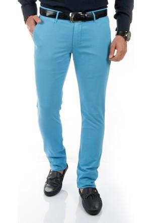 DeepSEA Mavi Klasik Slim Fit Spor Kesim Keten Erkek Pantolon 1702440-005