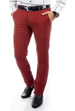 DeepSEA Bordo Klasik Slim Fit Spor Kesim Keten Erkek Pantolon 1702440-016
