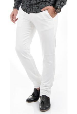 DeepSEA Beyaz Kendinden Desenli Slimfit Spor Kesim Keten Pantolon 1701026-001