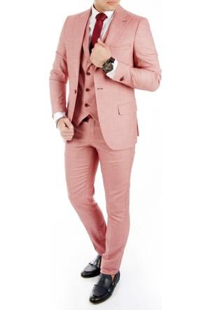 DeepSEA Açık Bordo Kendinden Desenli İtalyan Kesim Yelekli Erkek Takım Elbise 1710322-250